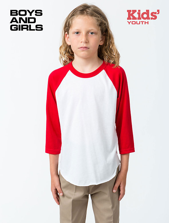 Youth 3/4 Slv Ply Ctn Raglan